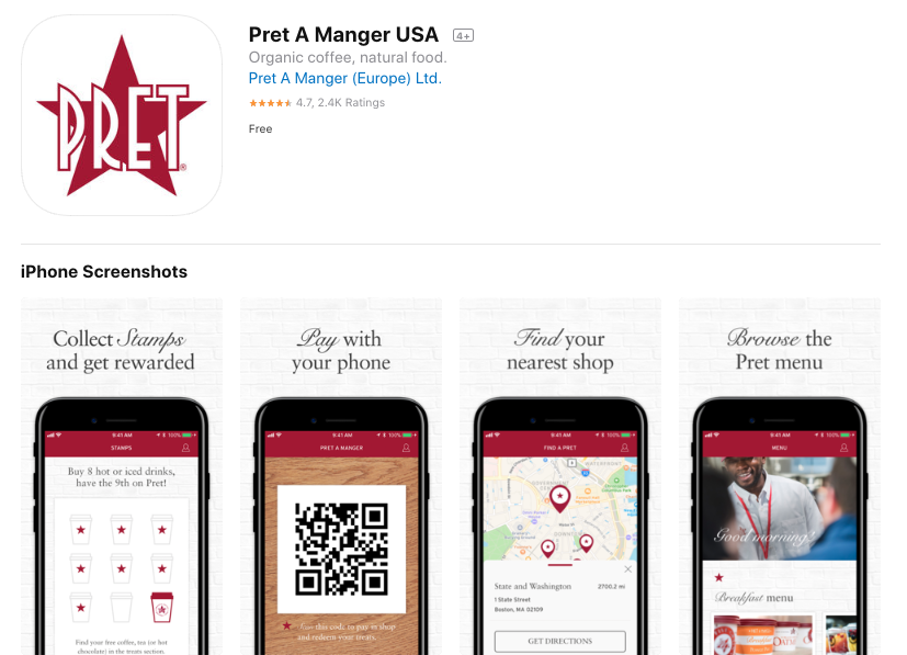The Pret app launched and is rated 4.7 stars in the App Store