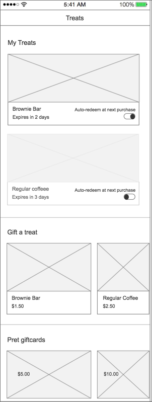 Treat Store Landing Wireframe
