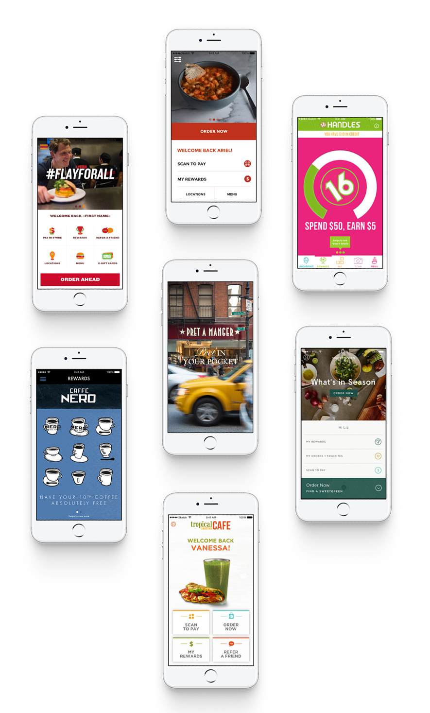 "Examples of UIs and features including a dynamic ""homescreen"" navigation I designed for clients like: Bobby Flay's Bobby's Burger Palace, Caffe Nero, and Sweetgreen"