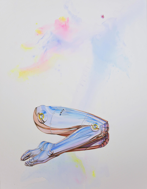 Dani Tull 2017 Uncanny Valley (legs 1, Sorayama) Oil and acrylic on canvas, 54 x 42 in