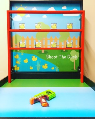 Stand from a distance with a watergun and shoot down as many ducks as possible, test your shooting accuracy and win prizes for the number of ducks you shoot!