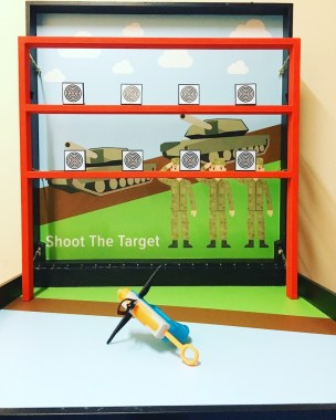 Stand from a distance with a watergun and shoot down as many targets as possible, test your shooting accuracy and win prizes for the number of targets you shoot!