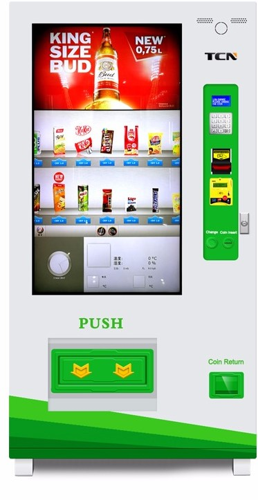 This vending machine has more functions and payment method it also has an led touch screen instead of your traditional buttons