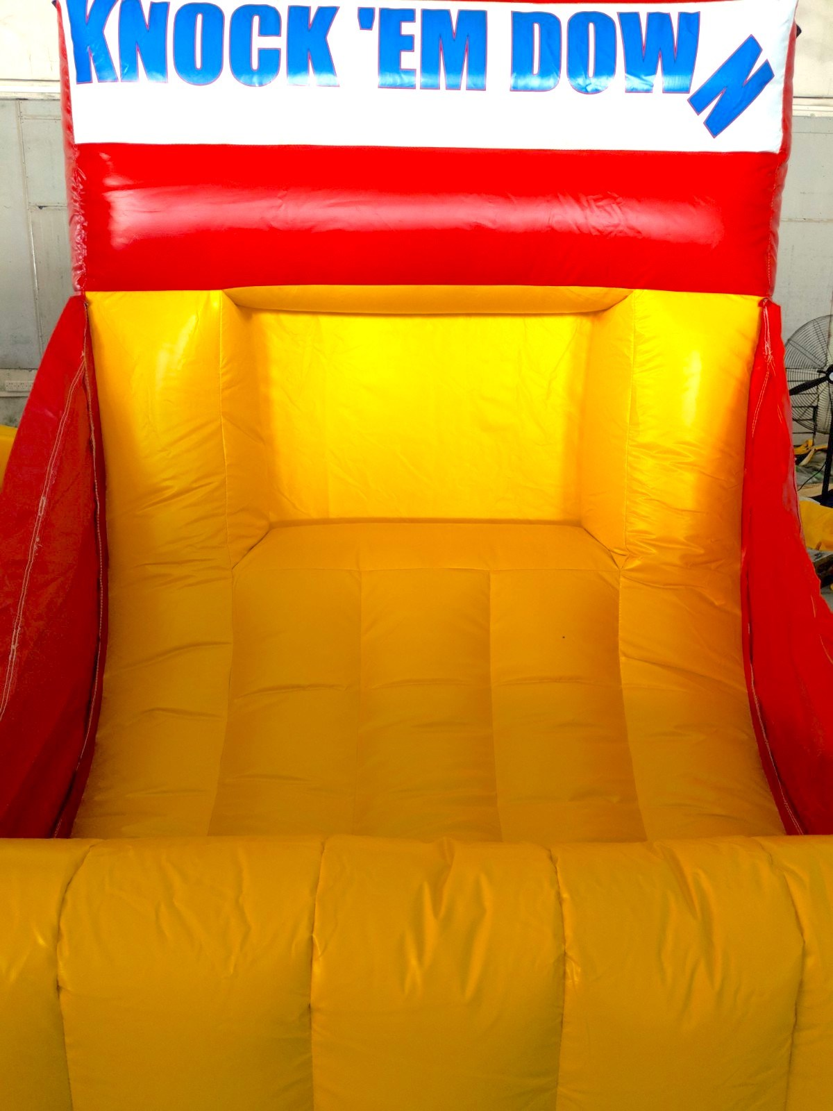 Just like your can toss this version is on an inflatable castle where an assistant is not needed as the ball will roll back to you!