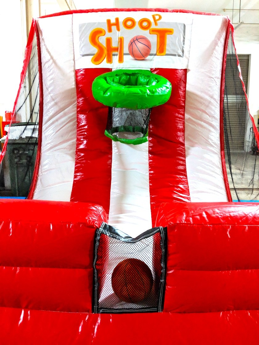 Just like your normal this version is on an inflatable castle where an assistant is not needed as the ball will roll back to you!