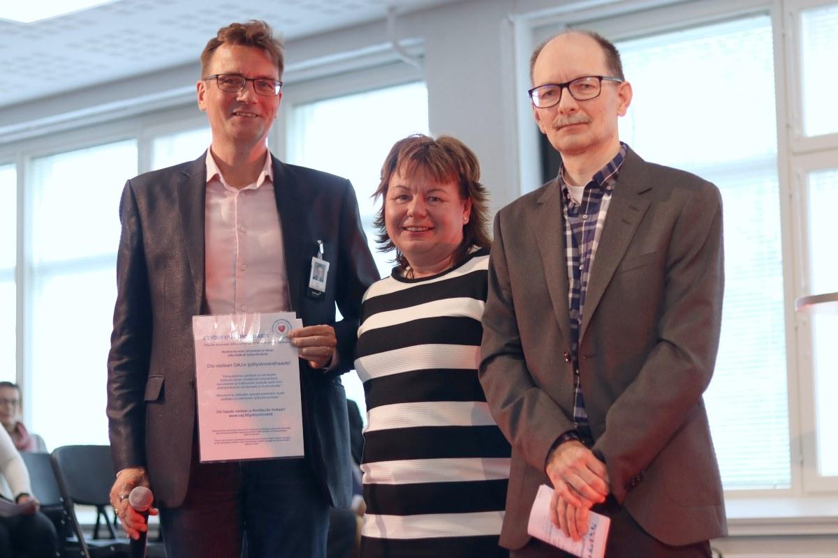 Rehtori Vesa Taatila, Jaana Tomppo ja Markku Seppälä