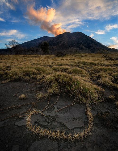 The active Turrialba volcano during sunrise