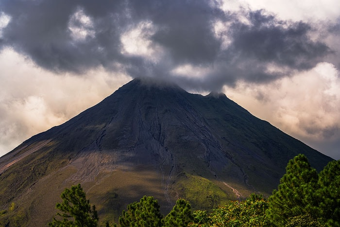 The Arenal volcano during sunset, as seen from the observatory
