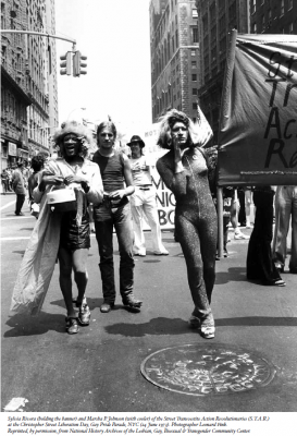 - Marsha P. Johnson (left) and Sylvia Rivera (right),  co-founders of the Street Transvestite Action Revolutionaries (STAR) at  the Christopher Street Liberation Day Gay Pride Parade, New York City,  June 24, 1973. Credit: Leonard Fink, courtesy LGBT Community Center  National History Archive