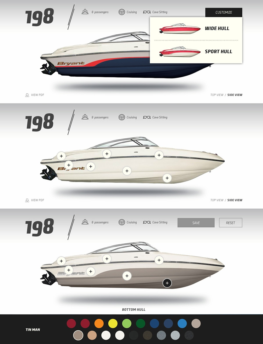 Visitors could create a unique color scheme for their boat and save the specs to send to a dealer or print it out specs to show friends/family.