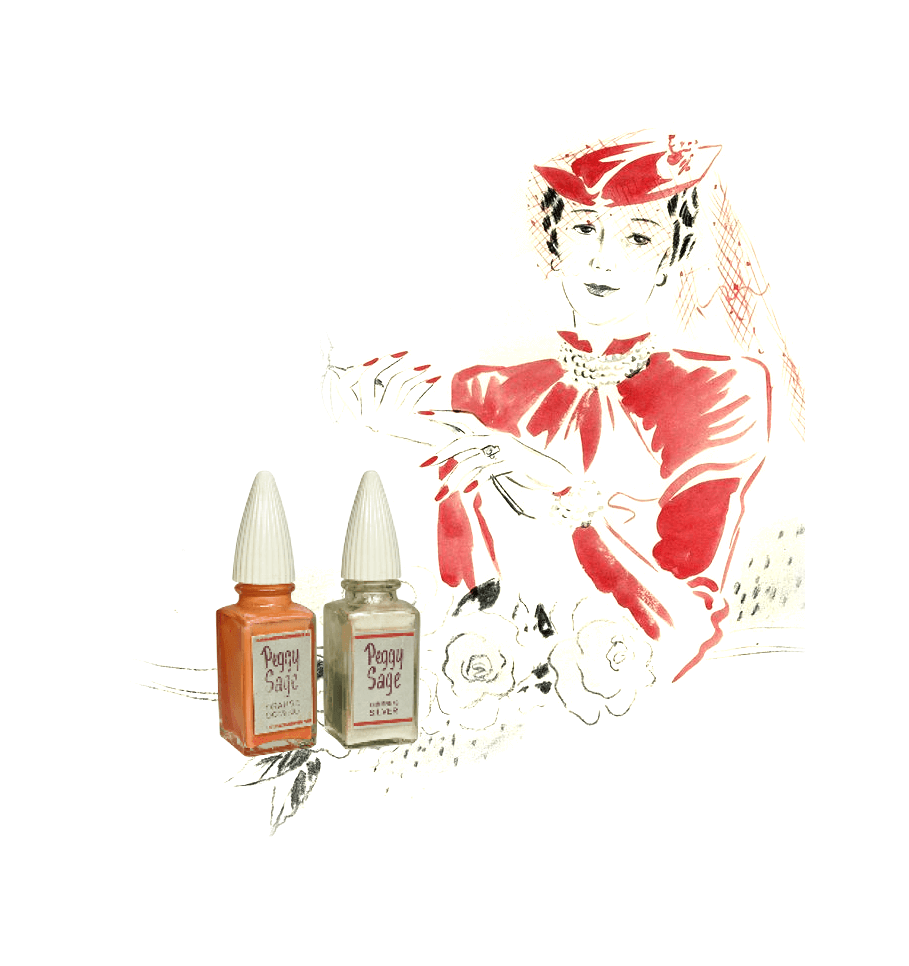 1925 Brand Founded - An American, Peggy Sage, establishes in the USA the first brand to specialise in manicure and nail care products.Sought-after Peggy Sage products are sold at home gatherings to a select clientele.