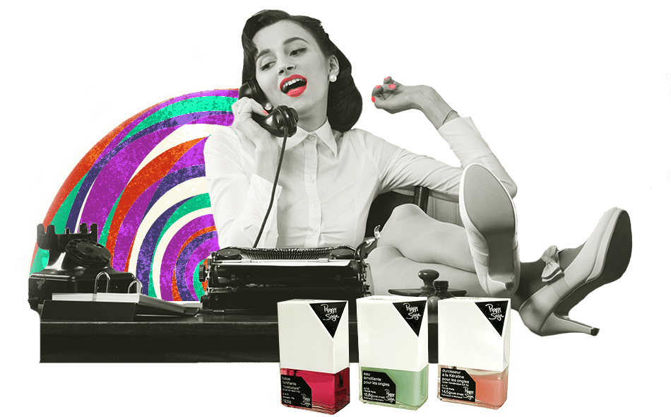 1960 Peggy Sage is liberated - Glamour gives way to emancipation for women and Peggy Sage moves with the times. New colours and new modern-looking bottles are adopted by women who now combine femininity with a working life.