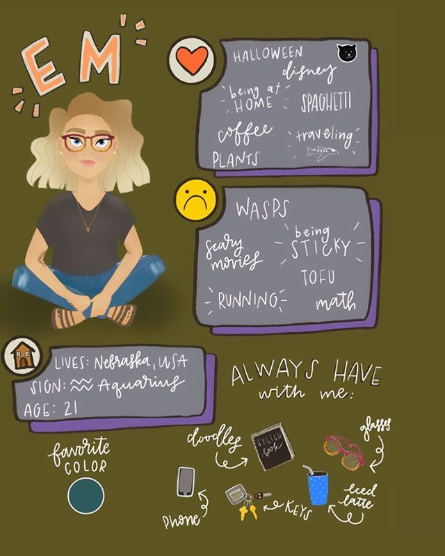 About me inspired by @pypahs_art this was so so fun!! I couldn't put it down!! Made with @procreate #emeliadraws #pypahs_art #aboutme #meettheartist #procreate #procreatepainting