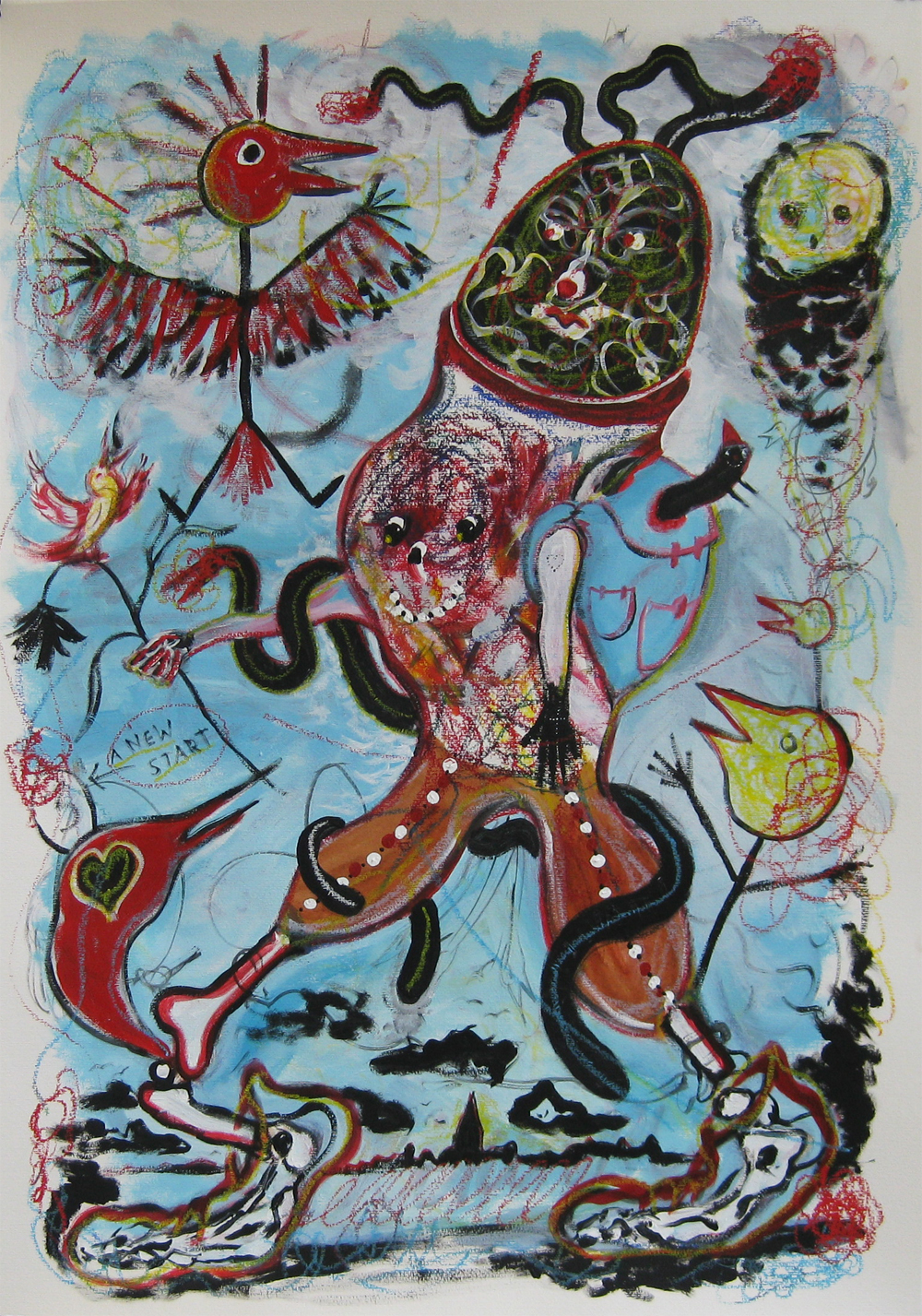 Chicken on the Run/Hühnerbein ging allein 70 x 100   Mixed media on Paper