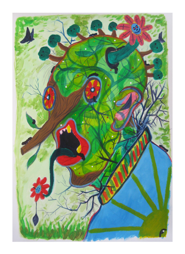 I am so green  70 x 100  Mixed media on paper