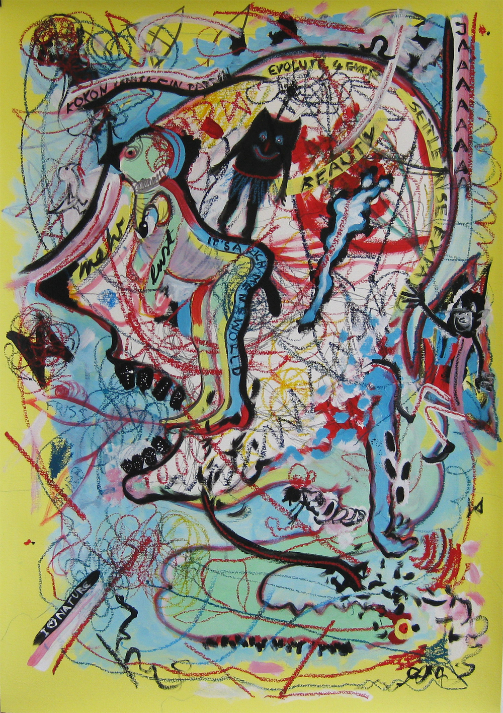 Raupe Nimmersatt  70 x 100  Mixed media on paper