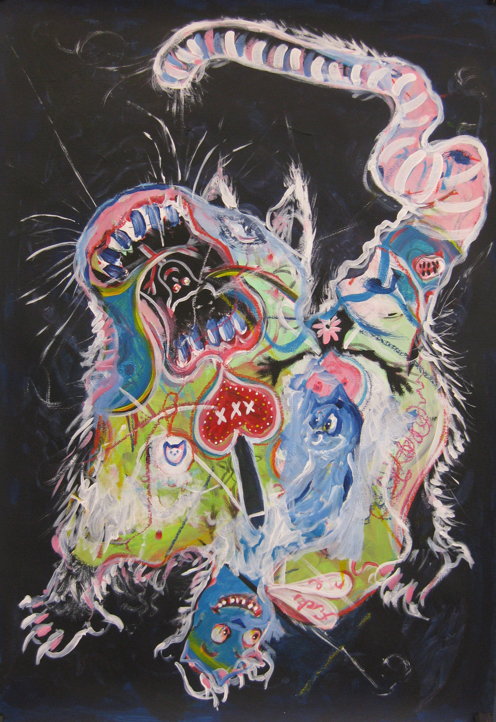 Cat  70 x 100  Mixed media on paper