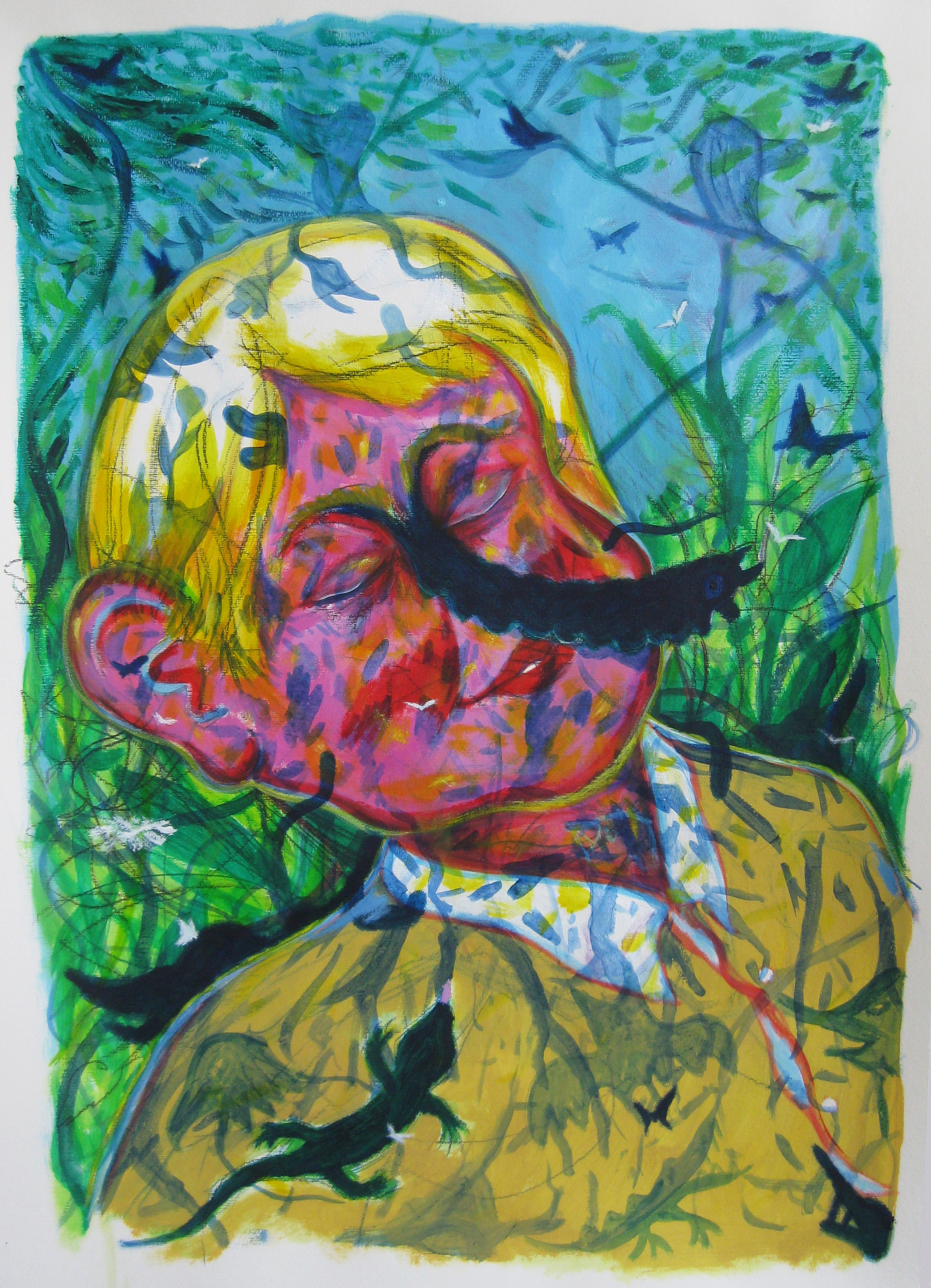 Und wenn mich nun niemand mehr weckt? Selfportrait  70 x 100  mixedmedia on paper