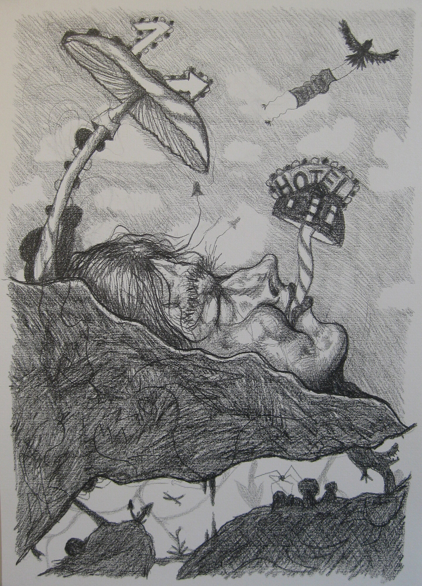 Funeral 70 x 100 cm graphite on paper