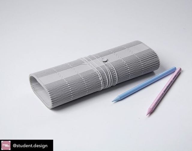 Great post from @student.design  Exploring the possibilities of surface manipulation.  WHAT: A minimalistic pencil case designed to carry and protect a creative person's most essential tools: pens and pencils.  HOW: Lasercutting plywood as a smart and cost efficient production method: no screws, hinges or glue. Contrasting the rigid pattern with a loose elastic closure.  WHY: Fascinated by the transformation and manipulation possibilties of materials: for instance from flat to 3d volumes, as well as from rigid to flexible materials.  Designer: @leandra_eibl  #materialistic #conceptualdesign #studentdesign #design #product #productdesign #industrialdesign #case #pattern #minimalistic #pencilcase #materialexploration