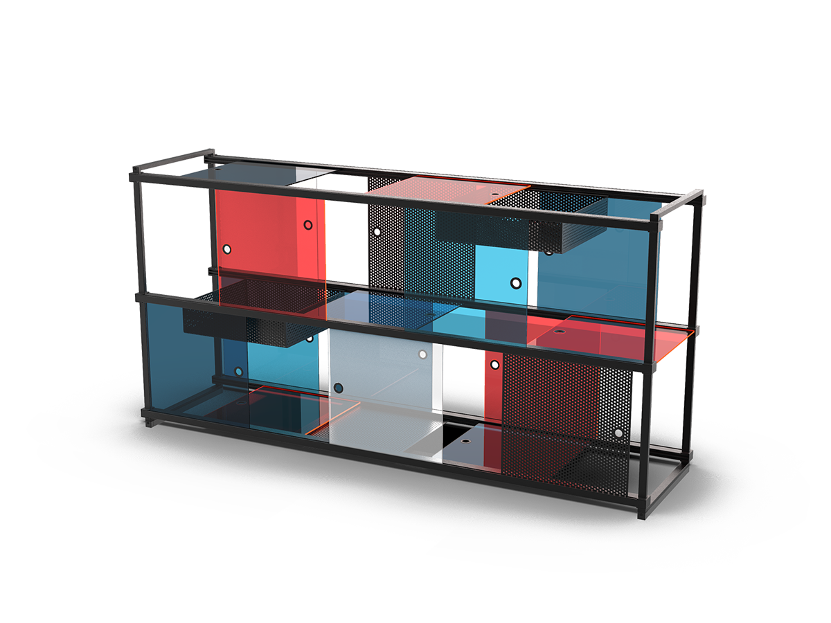 Basic structure with the accessoires color panels, mesh panels and trays