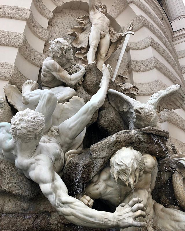 "Fountain ""power on earth"" by Edmund Hellmer at Hofburg, Vienna  #sculpture #fountain #hofburg #vienna"