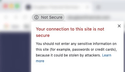 "Screen capture of web browser displaying a ""not secure"" message"