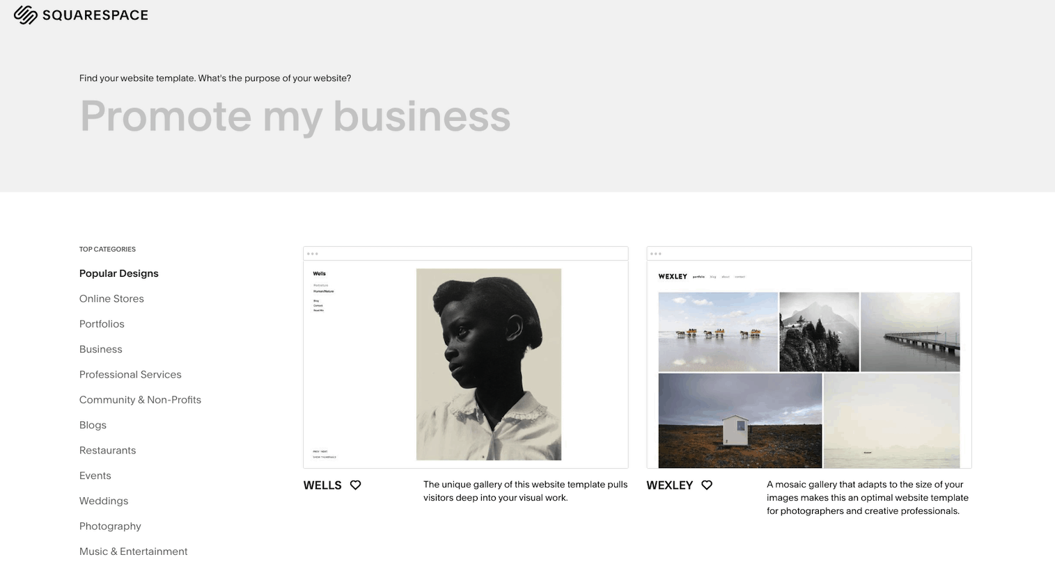 Squarespace template selection page