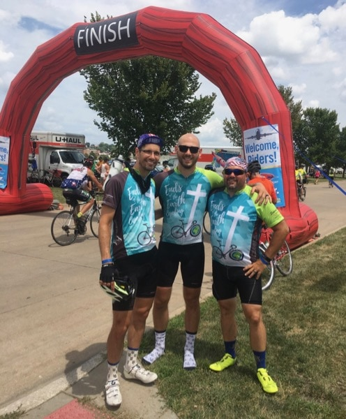 Michael with buddies Josh and Brian in Davenport, Iowa (July 2018). Conclusion of RAGBRAI XLVI.