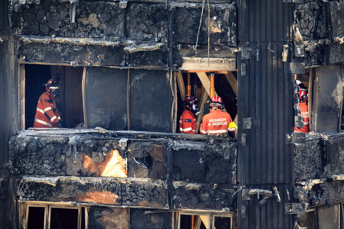 Fire and Rescue crews combing Grenfell Tower after the fire that gutted the 24-storey block killing up to 80 residents.Photo by Adam Gerrard  20 September 2017
