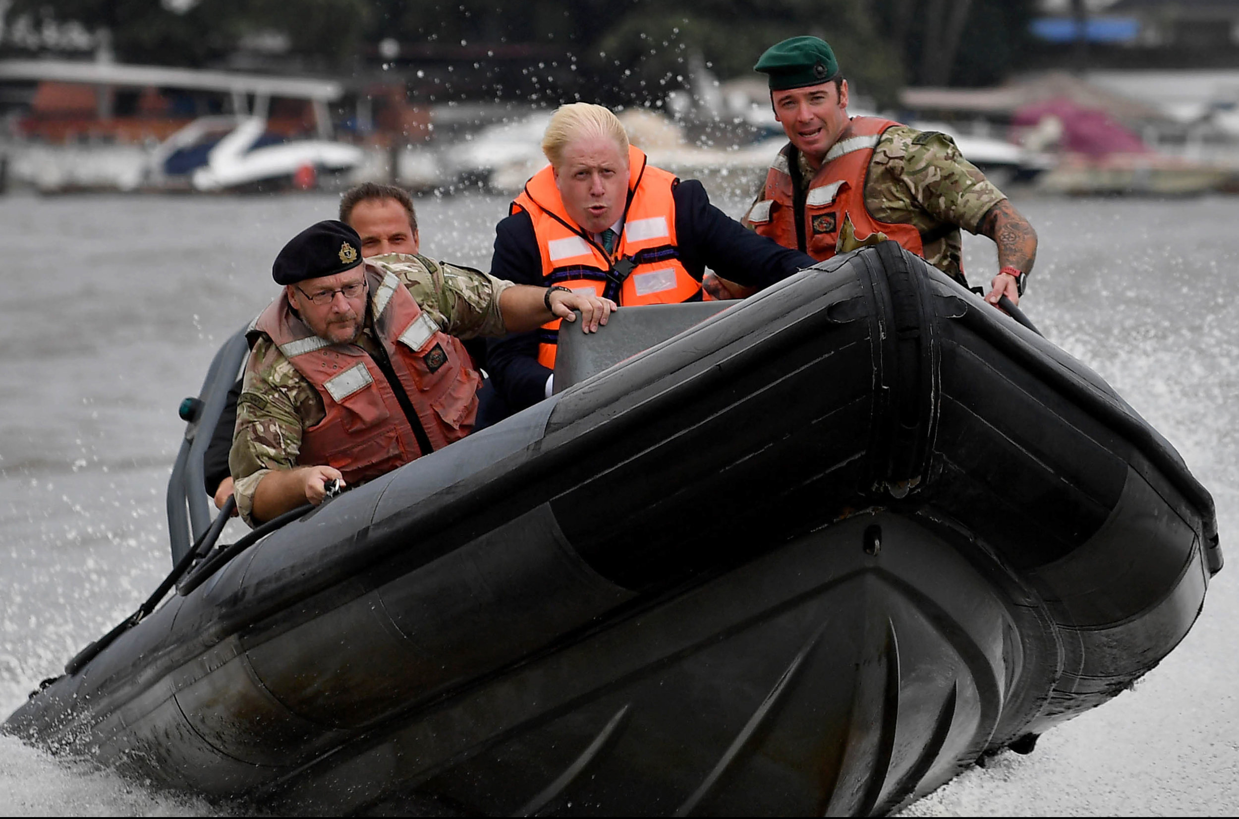 The Foreign Secretary, Boris Johnson, piloting a rib with members of the Royal Navy and Royal Marines who are based in Lagos, Nigeria, training the Nigerian Navy to tackle piracy.Photo by Andrew Parsons  31 August 2017