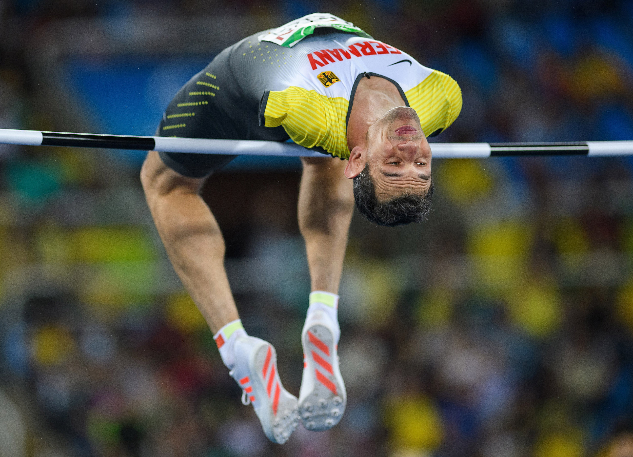 Reinhold B�tzel of Germany competes in the Men's High Jump T47 Final during the 2016 Paralympic Games, Rio de Janeiro, Brazil.Photo by Bob Martin  16 September 2016