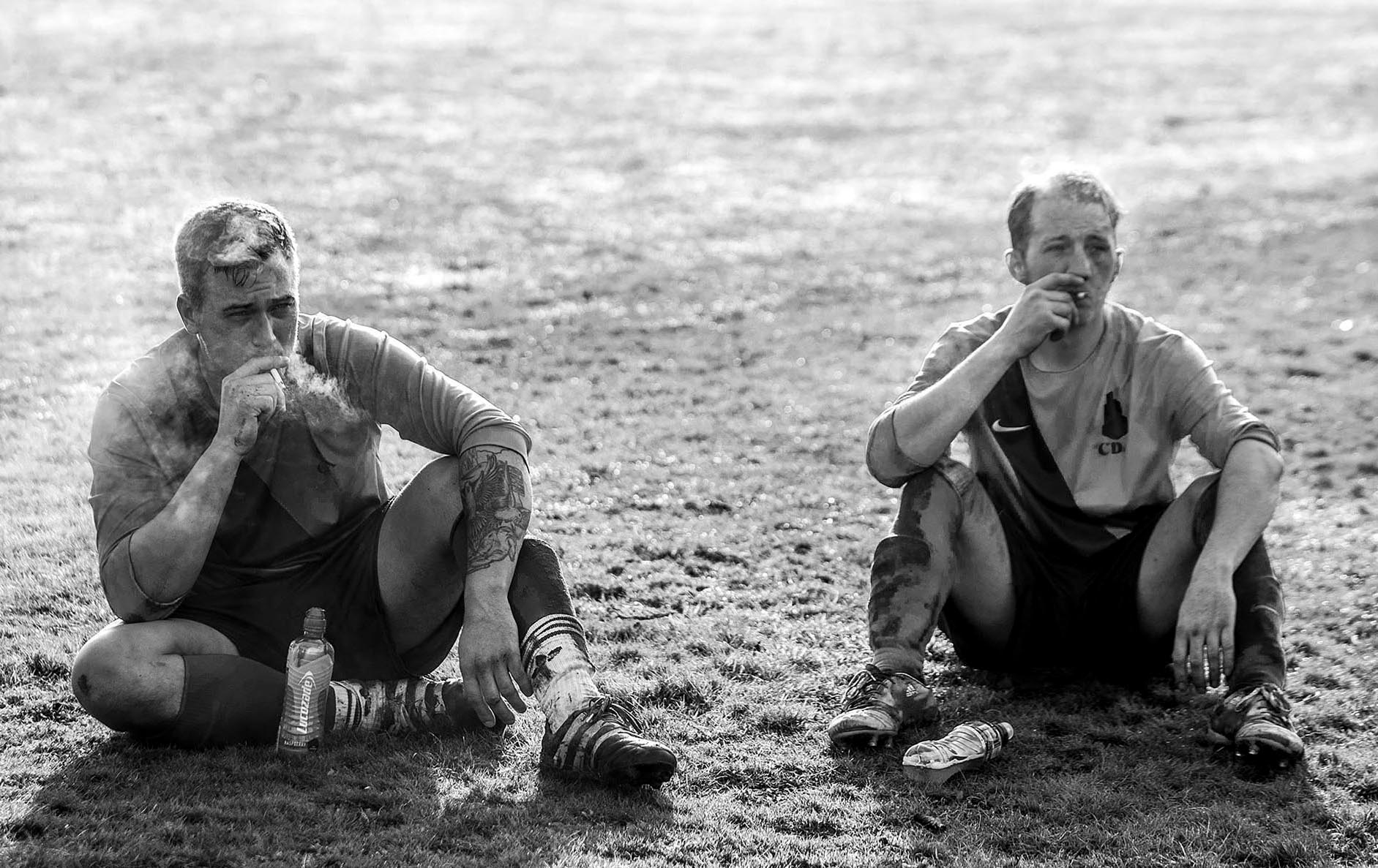 CDA players smoke cigarettes during the half time team talk in their game against Yacht Tavern in Southampton.Photo by Eddie Keogh  11 December 2016