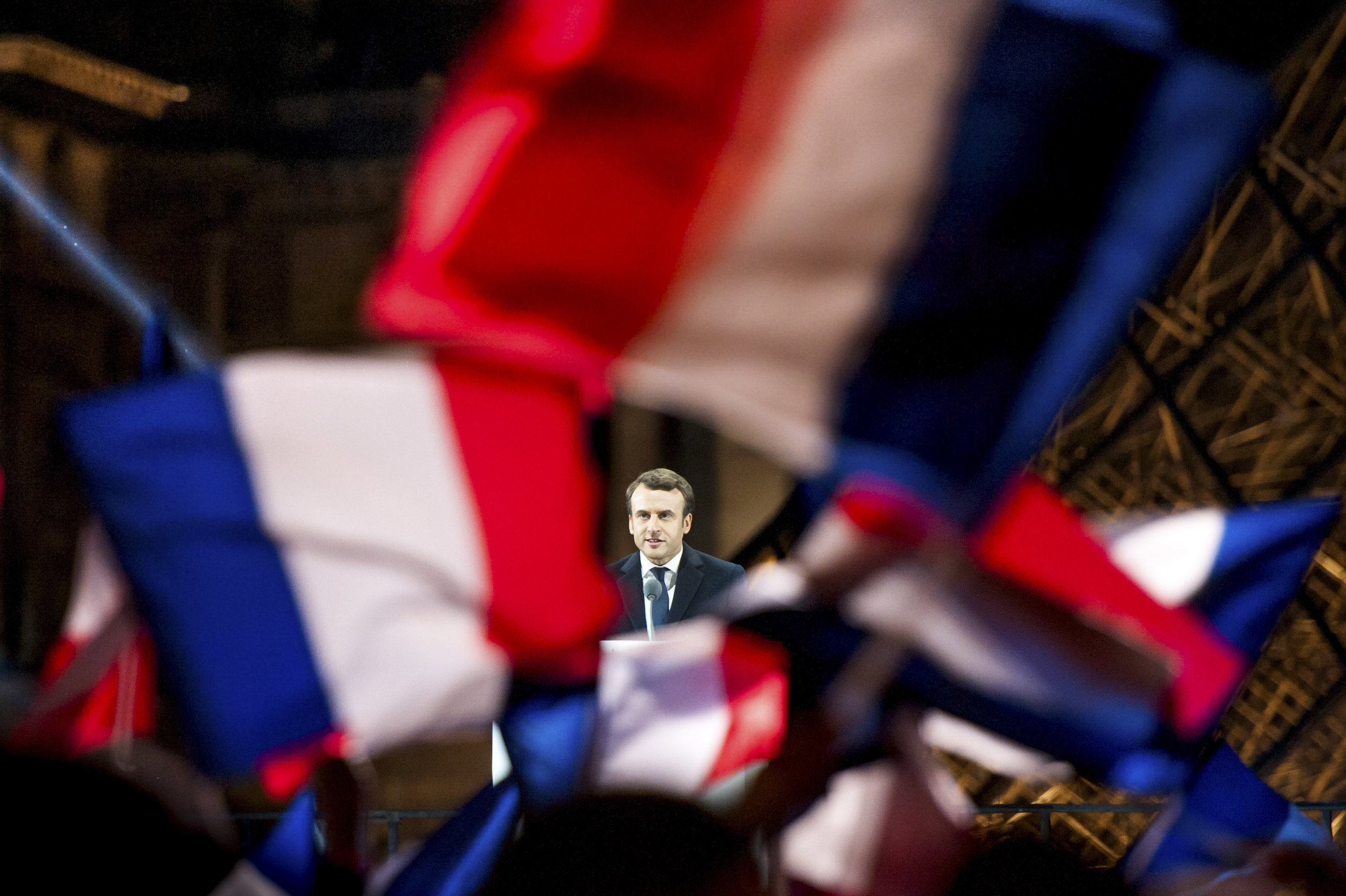 Emmanuel Macron of the newly formed En Marche! Party at a rally at the Louvre having been elected President beating his opponent Marine Le Penn of the Front.Photo by Guilhem Baker  07 May 2017