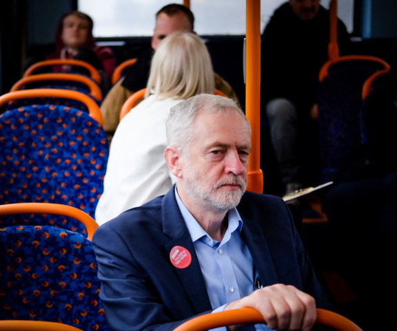 Labour leader Jeremy Corbyn travels on the number 36 bus from Middlesbrough to Stockton on Tees with Redcar and Cleveland council leader Sue Jeffrey who is launching her manifesto next week as she tries to become the inaugural Teesside mayor in elections in May.Photo by Ian Forsyth  31 March 2017