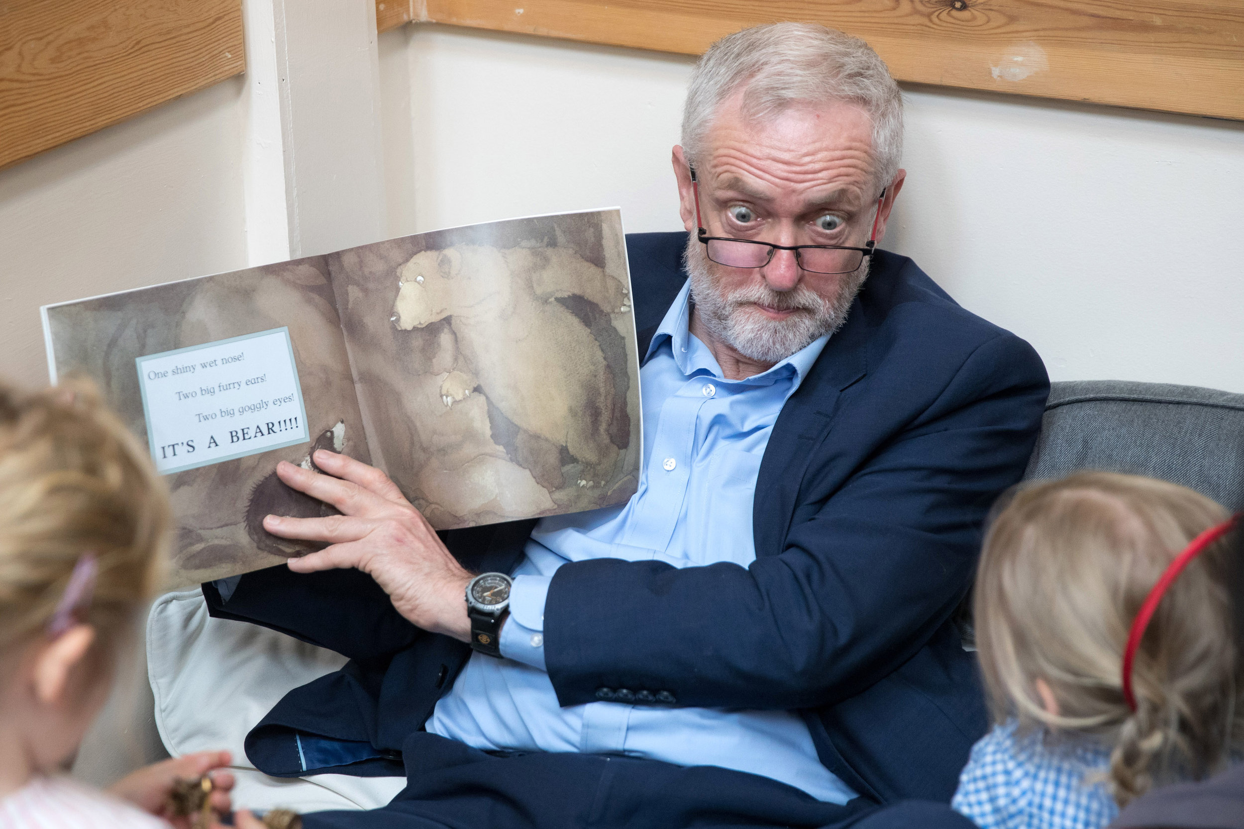 Labour party leader Jeremy Corbyn reads the book �We're Going on a Bear Hunt� to children during a visit to Brentry Children's Centre in Bristol in the run up to the General Election.Photo by Matt Cardy  21 April 2017