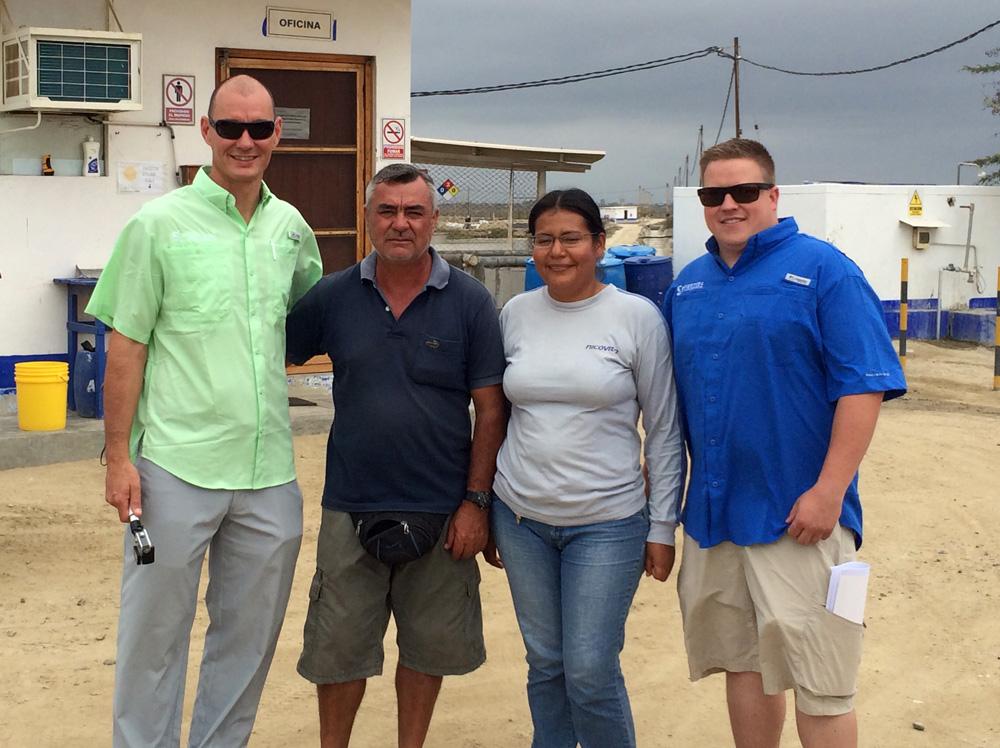 The Keeton Team in Peru meeting with a Shrimp Farm team that uses ShrimpShield.