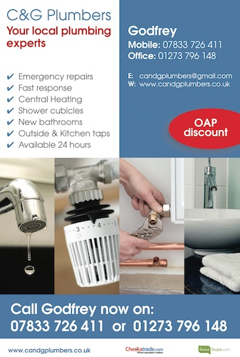 Your local plumbing experts - Mobile: 07833 726 411Office: 01273 796 148www.candgplumbers.co.uk