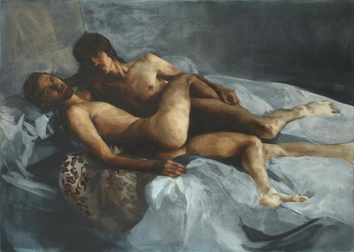 "Nick & Stef, 60"" x 40"", oil on canvas, 2009"