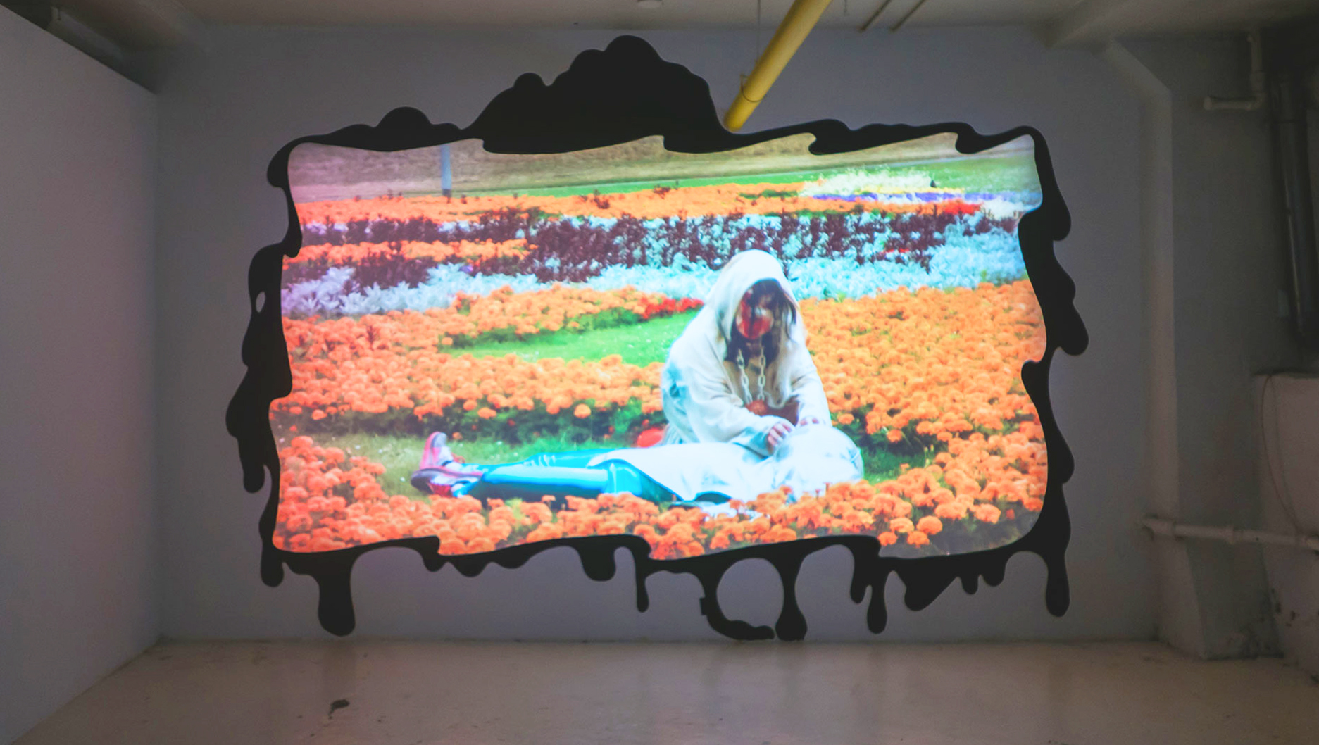Video install of Mourning pf the Living Past by Inflatable Deities (19min. 2017)