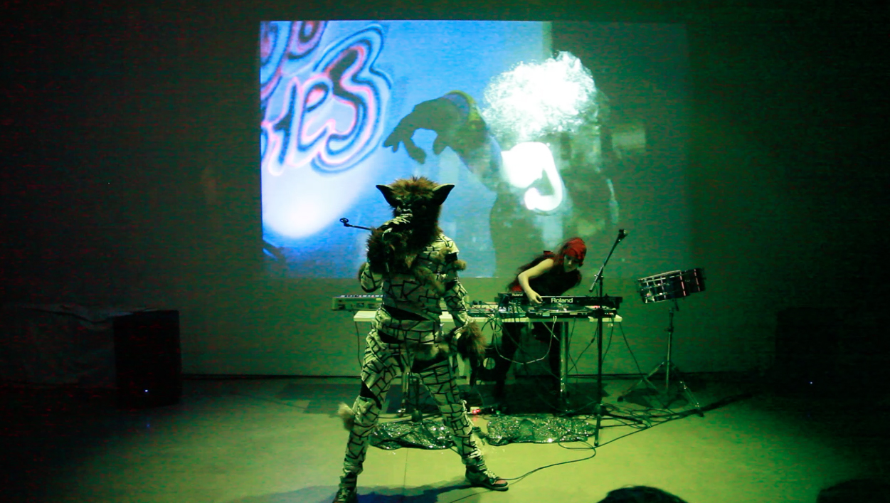 Live, Inflatable Deities performance in conjunction with the Eyelash Wars exhibition at FOFA Gallery, 2014
