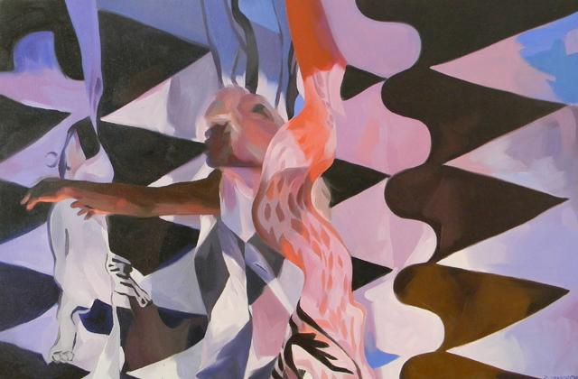 "Mummy Walk, 36"" x 24"", oil on canvas"