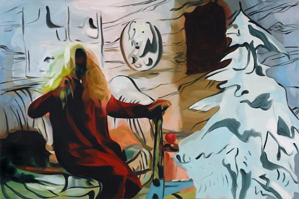 "Santa Banshee, 36"" x 24"", oil on canvas"