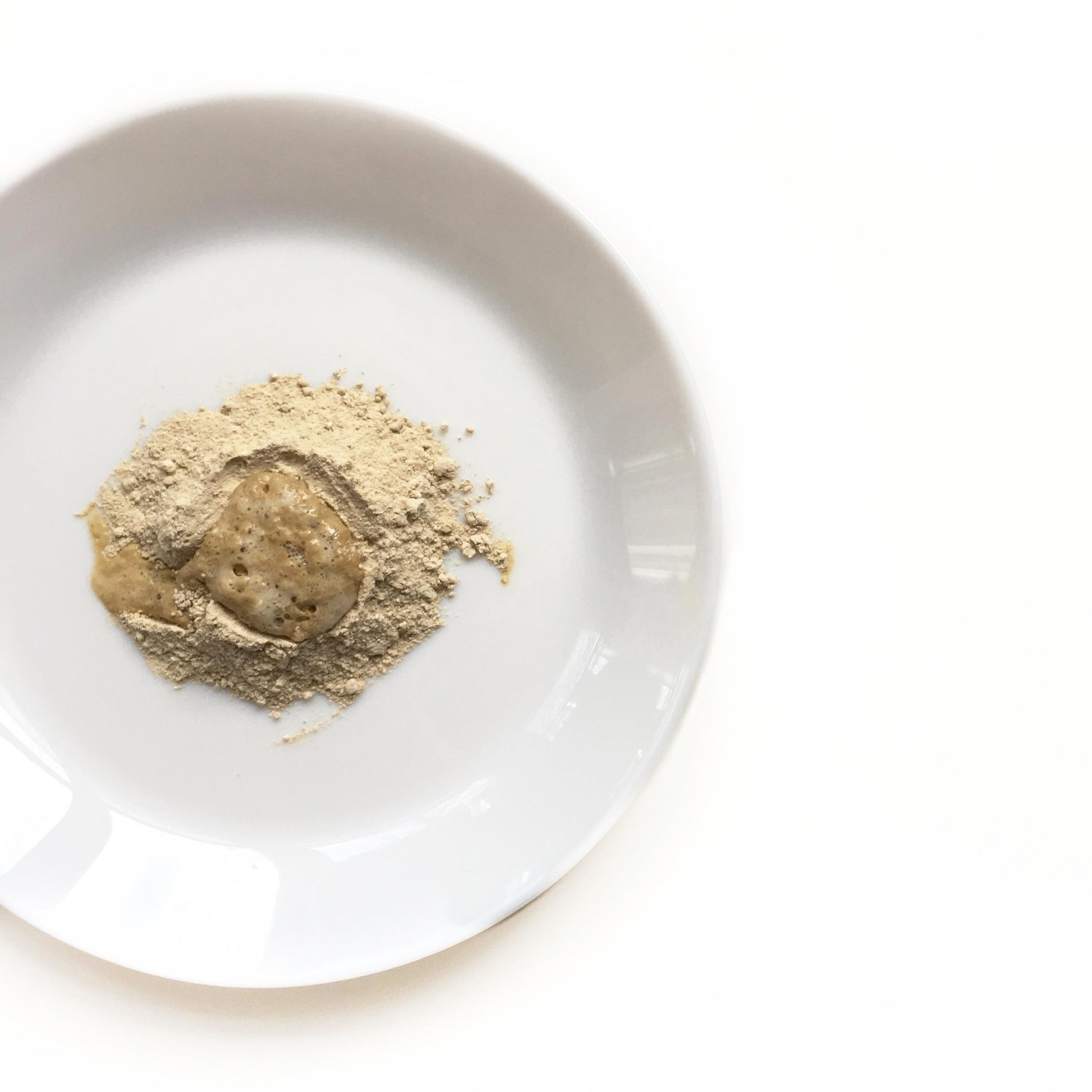 honey powder cleanser on plate