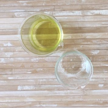 Weigh the Sucragel and the oils into separate containers.