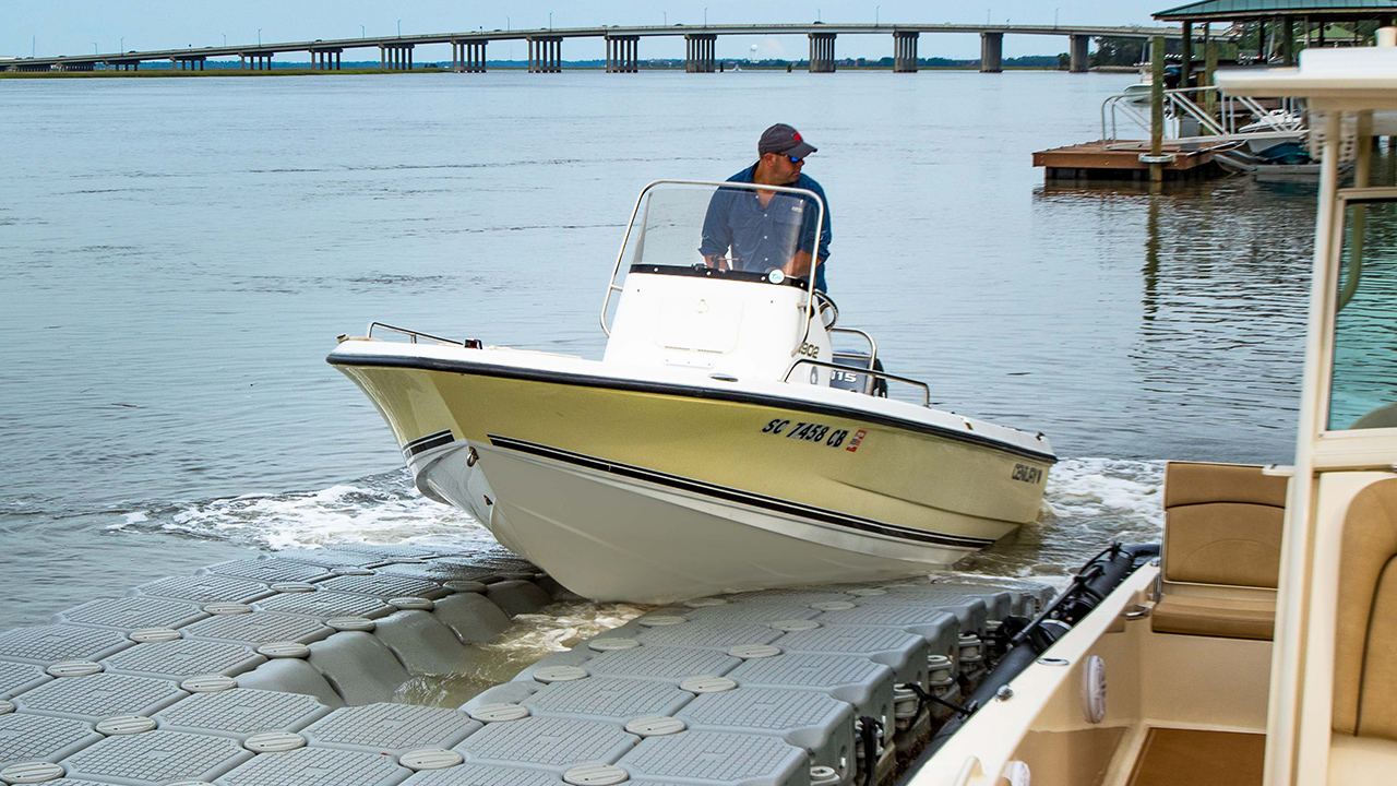 Dock or launch in seconds - FloatBricks make both easy. Specially designed U-Brick and Roller-Bricks help slide the vessel in and out of the water and directly into place.