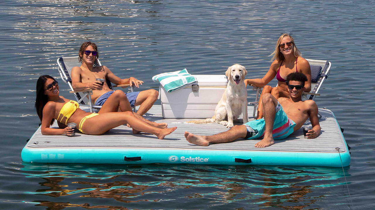 Built Strong - Choose faux wood tract decking for a luxury look and feel. Each Inflatable Dock features super-rigid, high pressure drop-stitch construction for stability, plus reinforced grab handles and tie-downs.