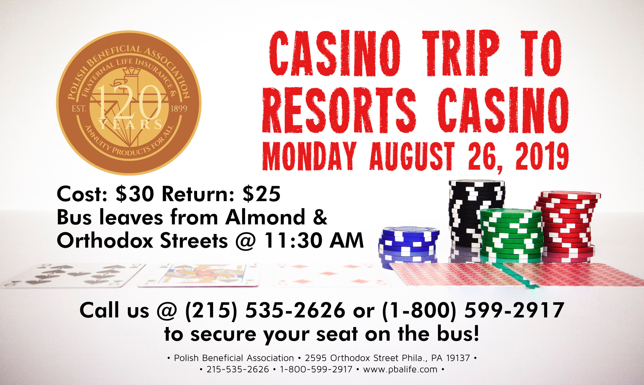 Looking for a fun day trip? Join us for our bus trip to Resorts Casino on Monday August 26, 2019 @ 11:30 AM.