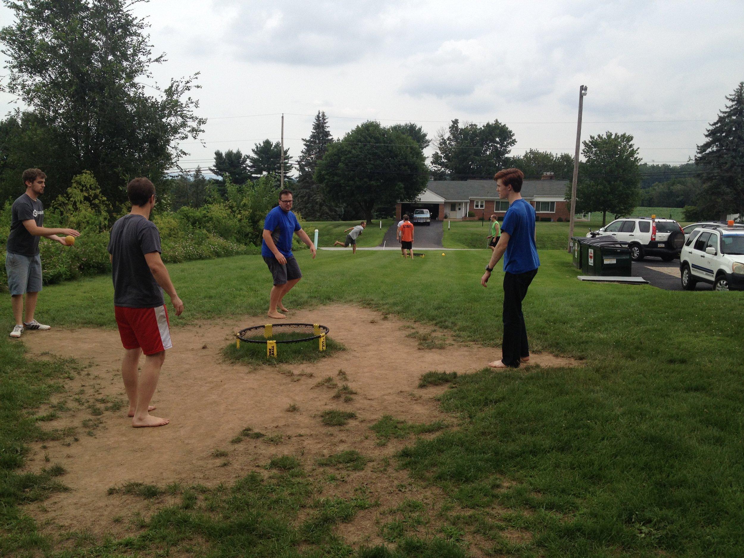 Katapult Employees having fun playing spkeball