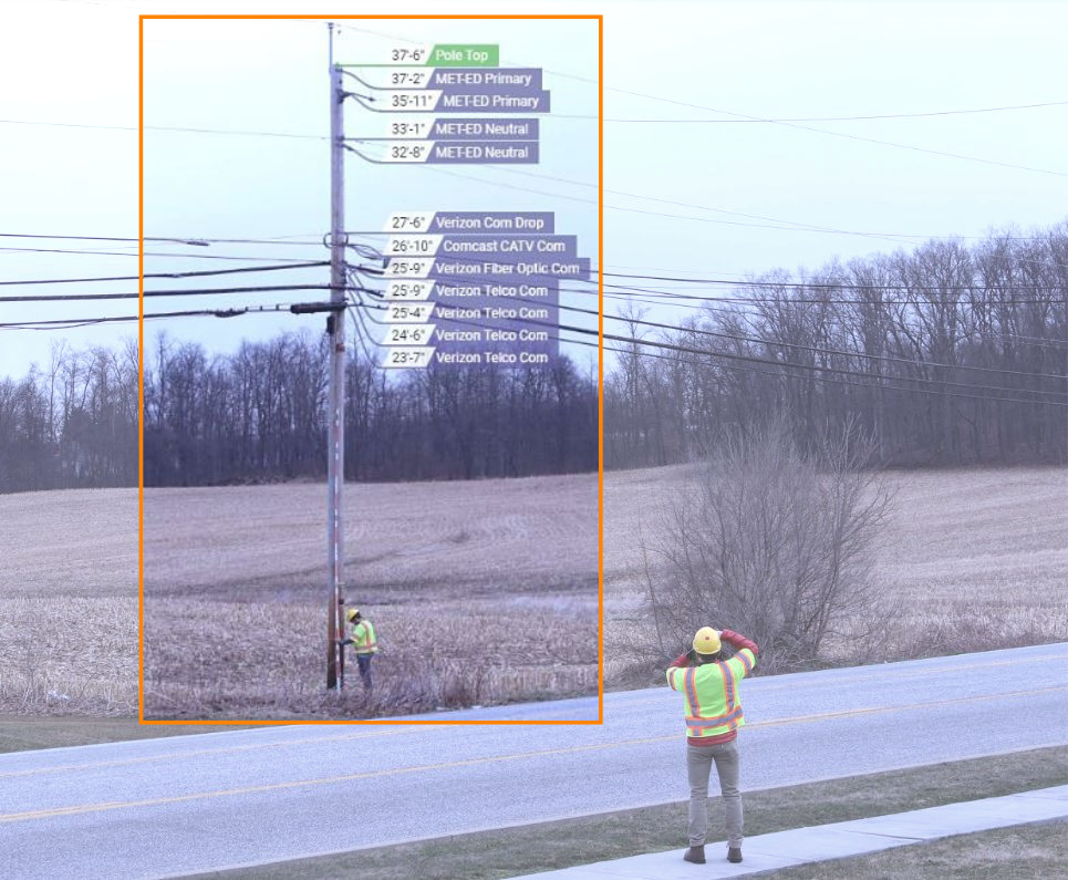 a picture displaying the Katapult Method, including a telephone pole with annotations overlayed